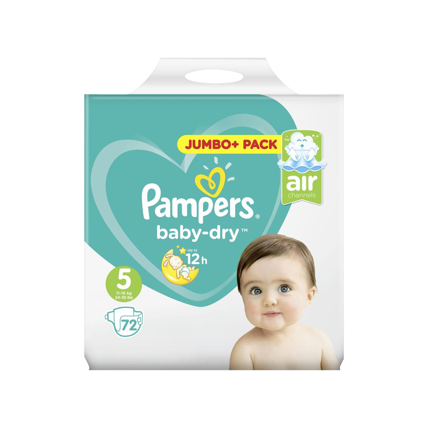 pampers baby dry windeln baby dry jumbo plus pack gr e 5 junior online g nstig kaufen. Black Bedroom Furniture Sets. Home Design Ideas